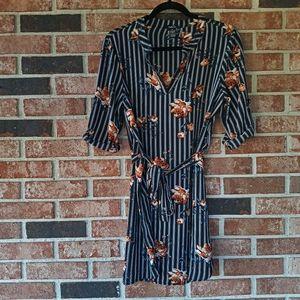 3/$20 Rue21 Black Stripe Floral Tie Midi Dress M